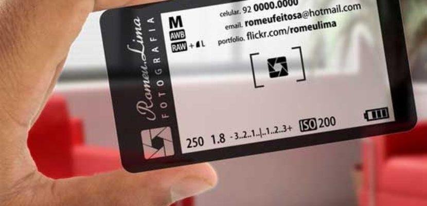Carte de visite transparente pour un photographe