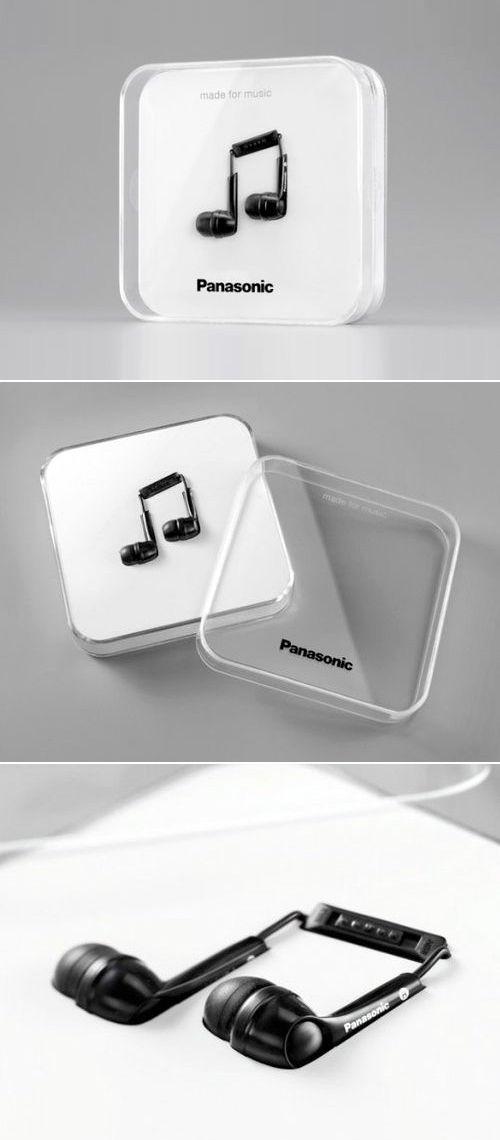 packaging original pour écouteur en forme de note de musique