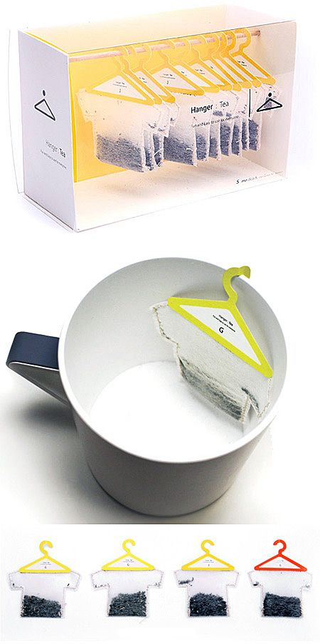 packaging en forme de cintré pour une marque de thé