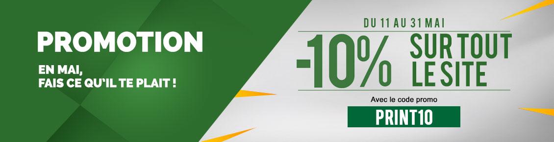 MAI -10% sur tout le site