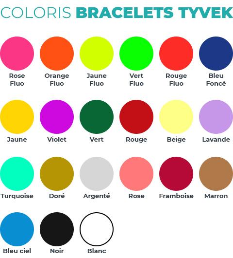 Bracelet Tyvek une couleur personnalisé