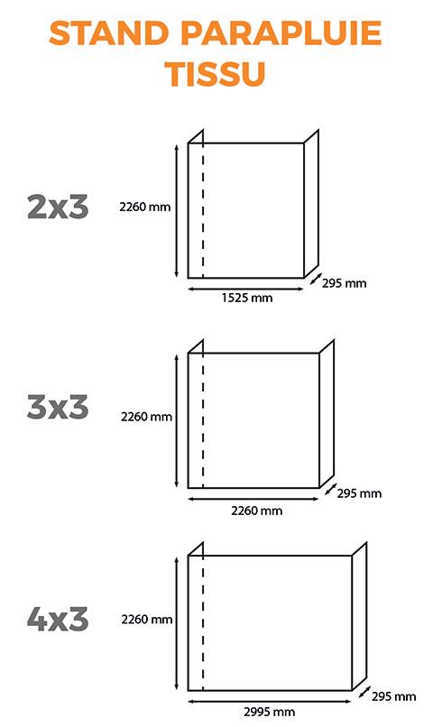 stand parapluie tissu format